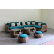 Splendid Sofa Set Weaved of Natural Material - Water Hyacinth Wiker For Indoor Use